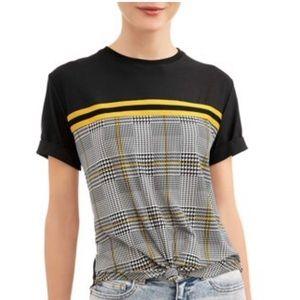 No Boundaries Juniors Printed colorblock T-shirt